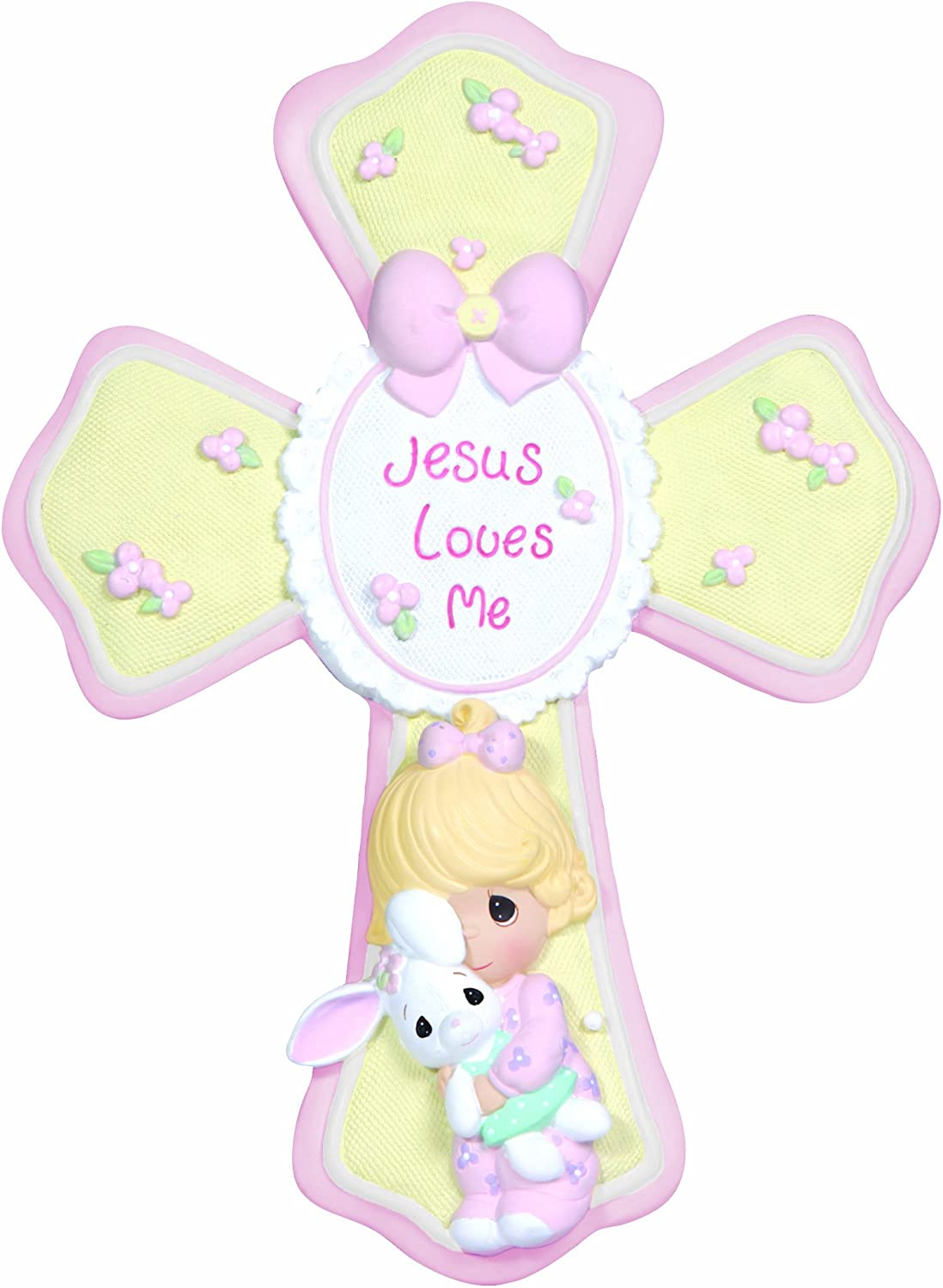 Precious Moments, Jesus Loves Me, Girl Resin Cross With Stand, 132402