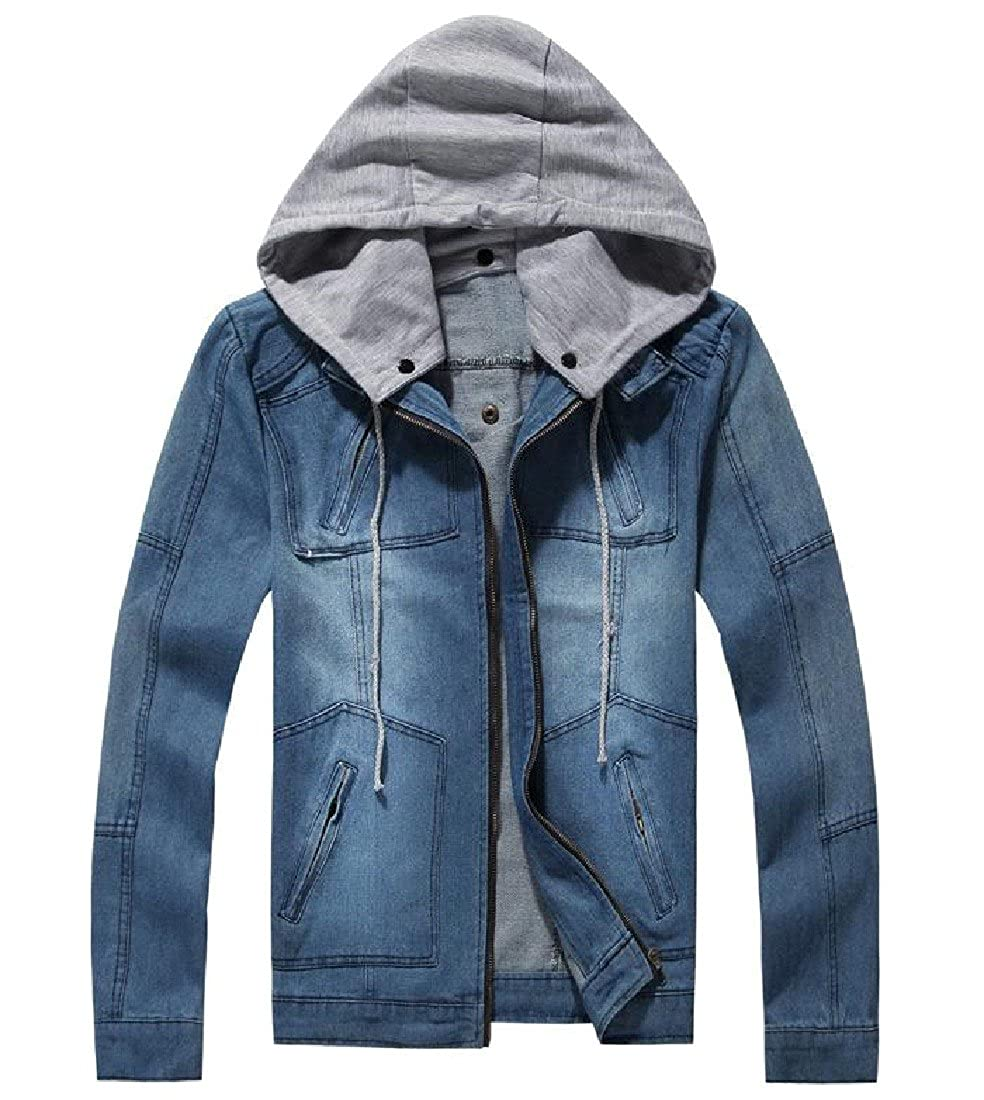 Sheng Xi Mens Denim Vintage Solid Zipper With Removable Hood Jacket