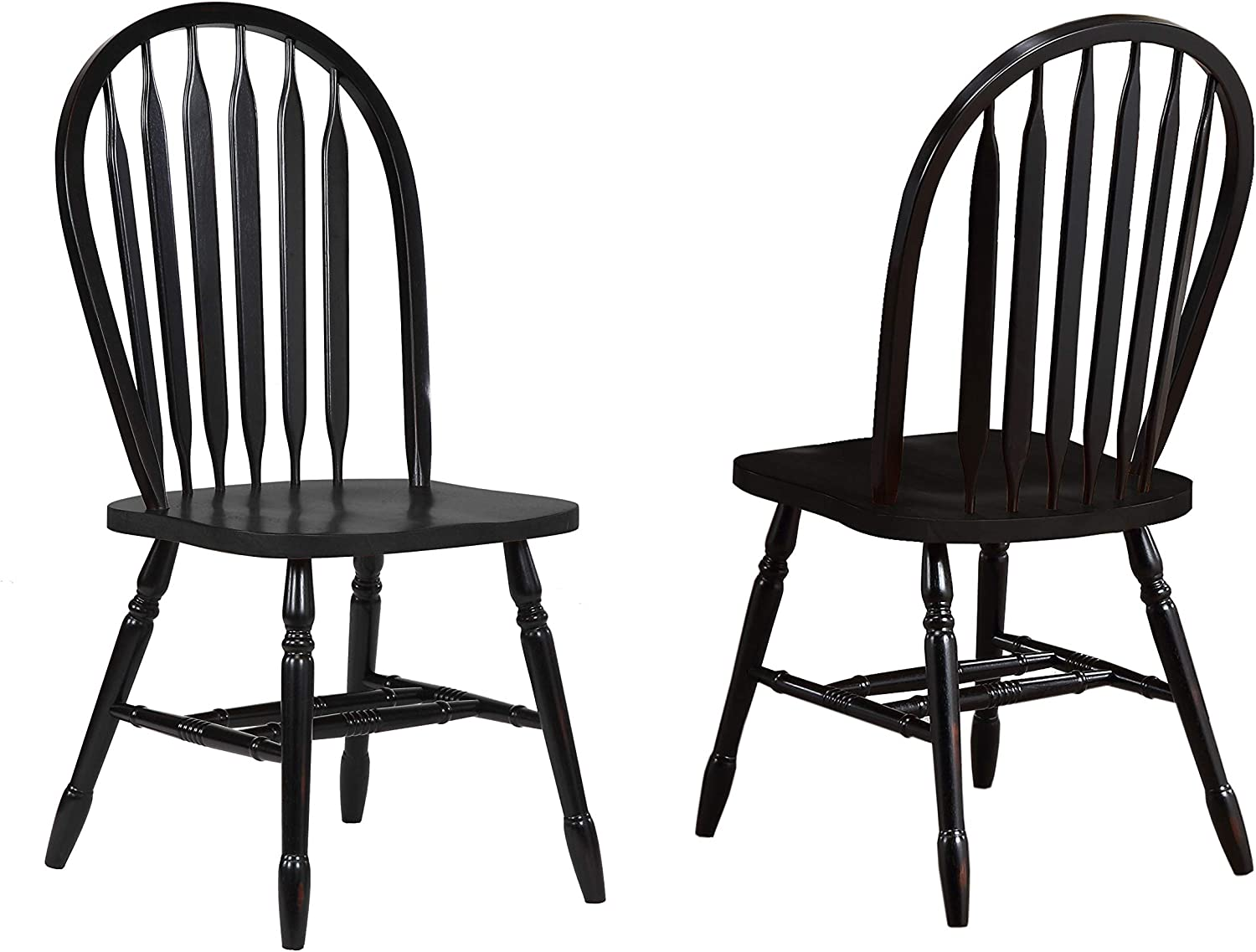 Sunset Trading Arrowback Dining Chair in Antique Black, Set of 2, 38 , Antique Black