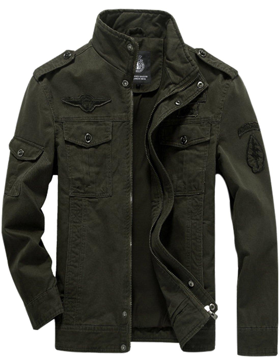 Springrain Men's Casual Slim Stand Collar Tooling Cotton Jackets (Medium, Army Green) by Springrain