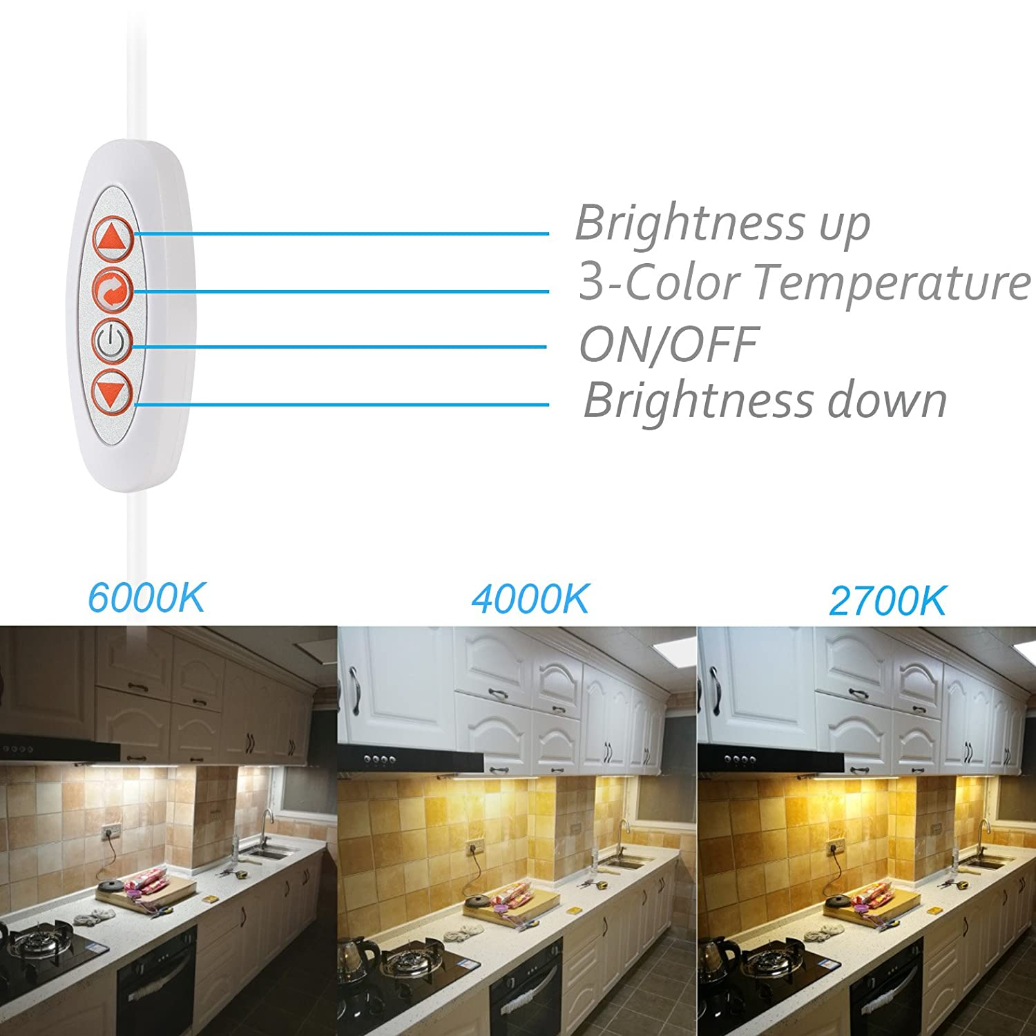 ASOKO LED Under Cabinet Lighting Bar Built-in Magnets, Dimmable, 3 ...