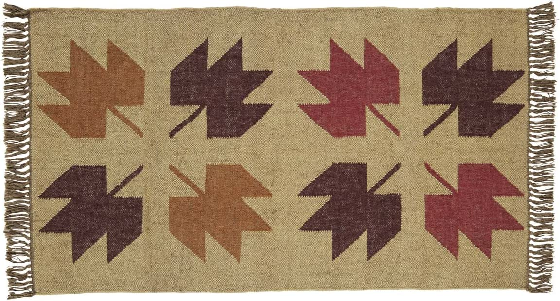 VHC Brands Harvest Thanksgiving Rustic Lodge Flooring – Braddock Tan Kilim Rug, 3 x 5