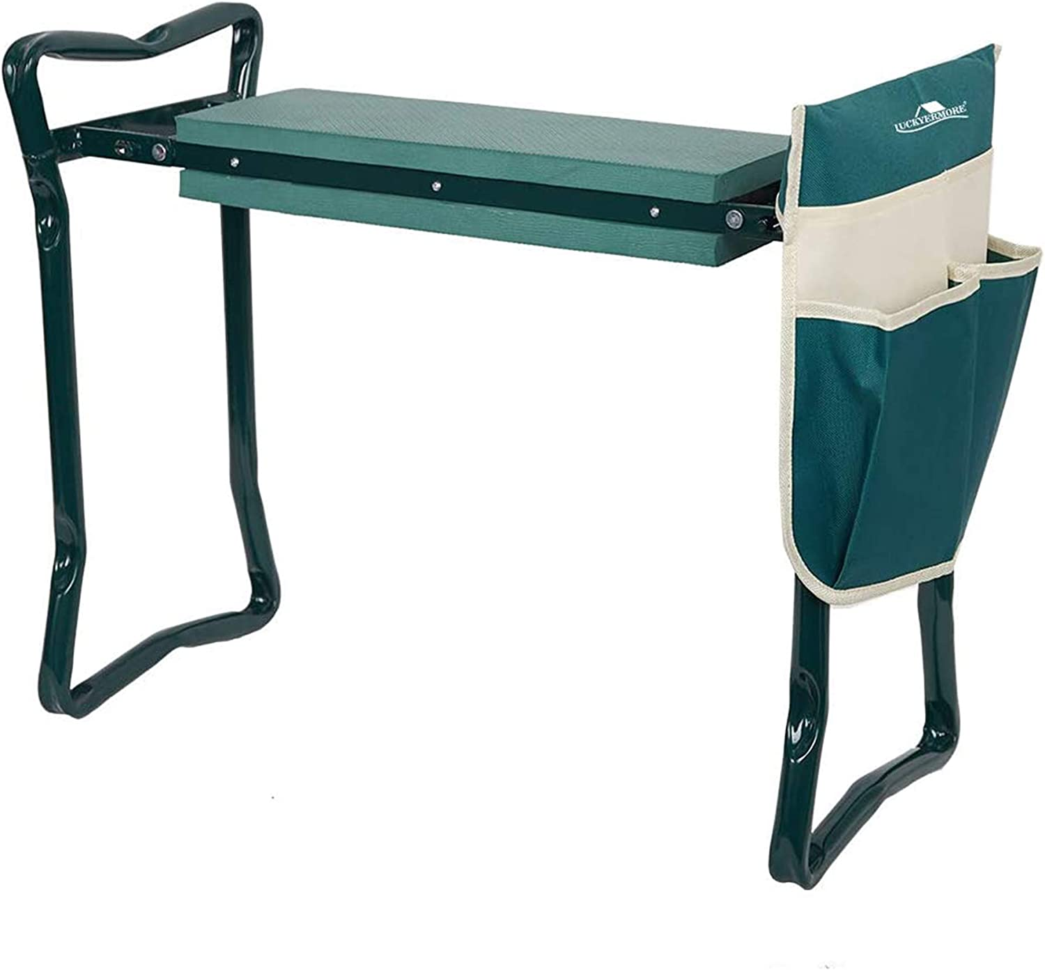 Folding Garden Kneeler and Seat Garden Bench with Tool Pouch and Soft Kneeling Pad from LUCKYERMORE