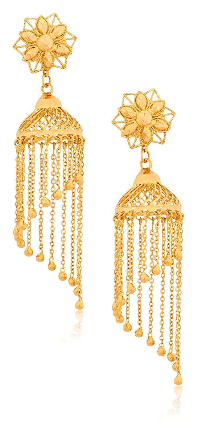 Buy Senco Gold 22k Yellow Gold Jhumki Earrings Online at Low ...