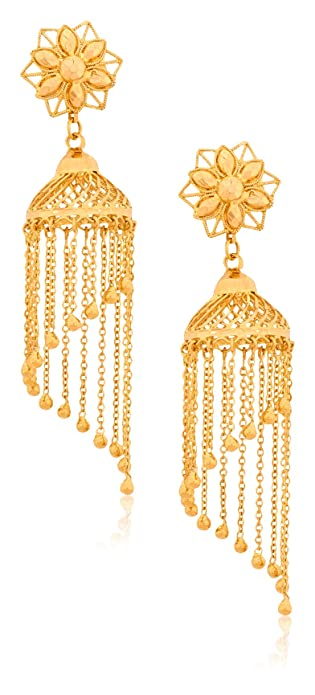 Buy Senco Gold 22k 916 Yellow Gold Jhumki Earrings For Women