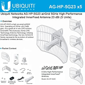 Antenna High-Performance airGrid M5 23dBi 5GHz AirMax Integrated InnerFeed 100+ Mbps 25+ km (5PACK)