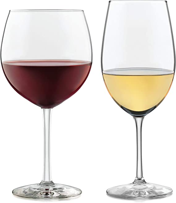 Libbey Vineyard Reserve 12-Piece Wine Glass Party Set for Chardonnay and Merlot/Bordeaux
