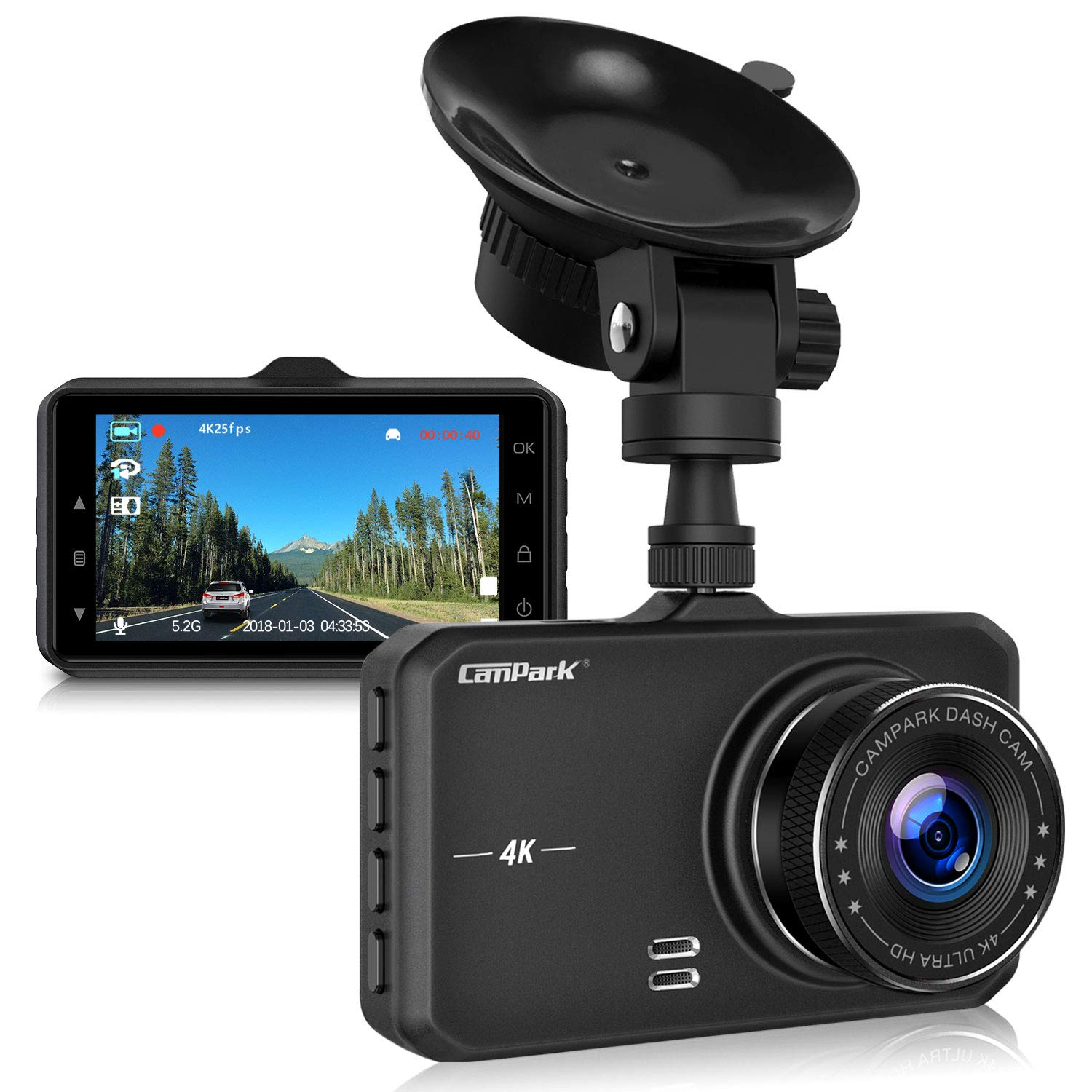 Campark Dash Cam 4K UHD DVR Driving Recorder Camera for Cars Dashboard with 3'' LCD 170°Wide Angle Night Vision G-Sensor Parking Monitor WDR Motion Detection by Campark