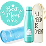 Onebttl Gifts for Mom, Mom Birthday Gifts, Mom Gifts from Daughter/Son, Best Mom Ever, Bear Mama and Baby, Insulated Stainless Steel Water Bottle 500ML/17OZ