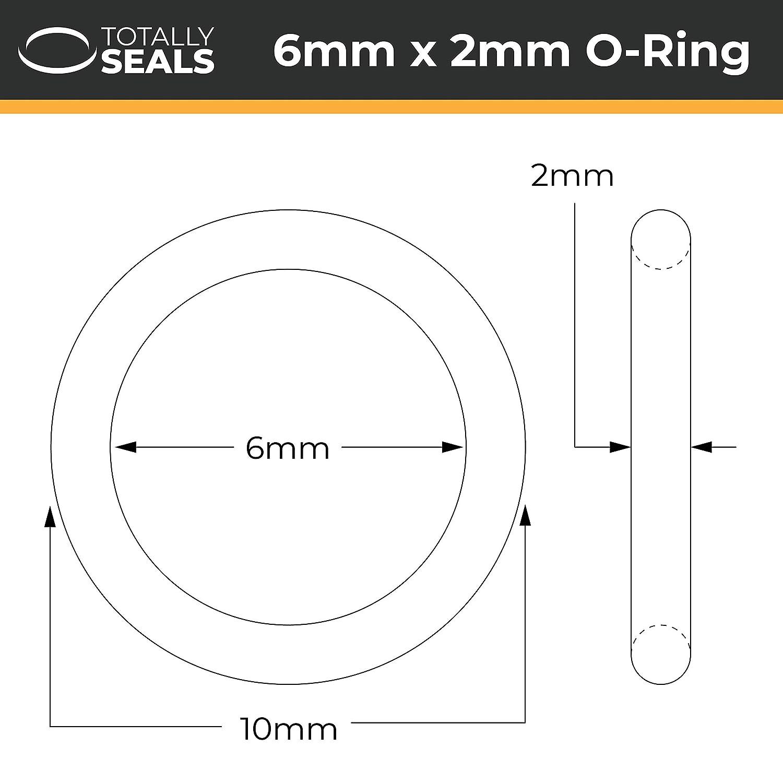 75 A Shore H/ärte 6 x 2 mm 10 mm Au/ßendurchmesser VITON FKM O-Ringe aus Gummi Packungsgr/ö/ße w/ählbar