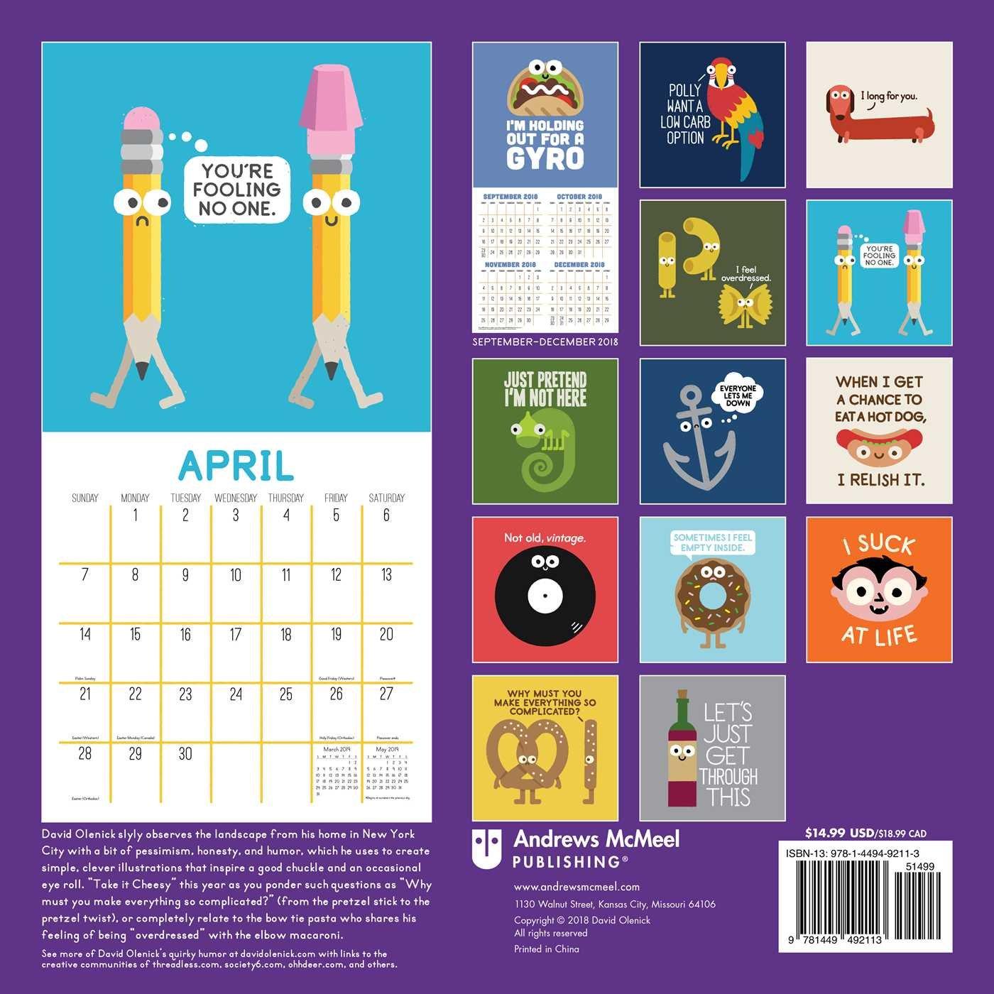 The Art of David Olenick 2019 Wall Calendar: Take It Cheesy: David Olenick:  0050837418967: Amazon.com: Books