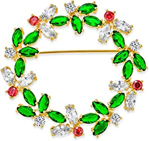 Colorful Marquise Cubic Zirconia CZ Green Red White Round Fashion Christmas Holiday Wreath Brooch Pin for Women 14K Gold Plated