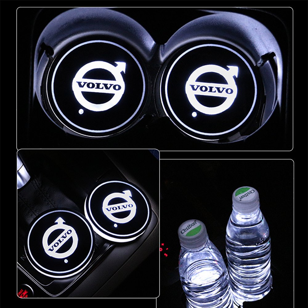 Amazon.com: Alichee LED Car Logo Cup Holder Pad 7 Colors Changing USB Charging Mat LED Cup Mat Car Atmosphere Lamp Decoration Lights 2PCS for Volvo ...