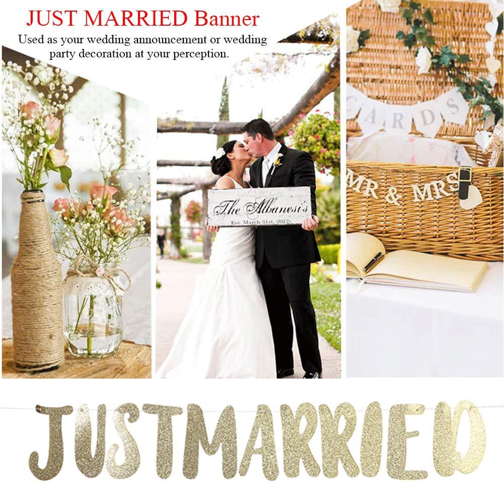Zerodis Just Married Banner Wedding Decorations for Ceremony Hanging Felicitaciones Banner Shimmering Enhorabuena Herramienta para el Compromiso y la Celebraci/ón de la Boda Party Supplies Gold