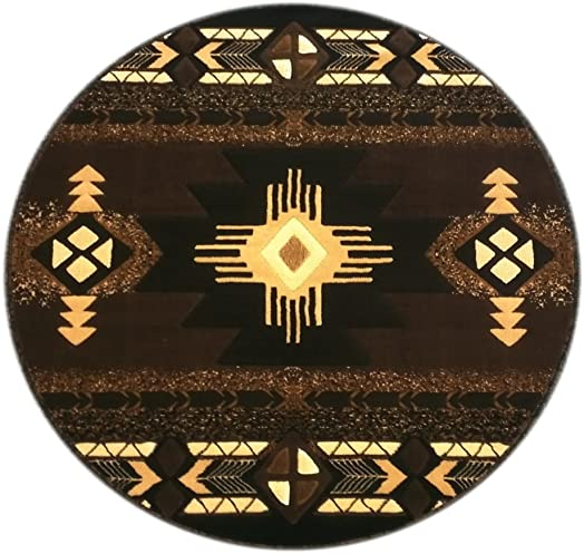 South West Round Area Rug 6 Feet 7 Inch X 6 Feet 7 Inch Chocolate Design C318