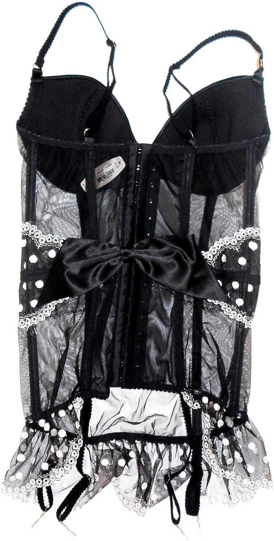 Victoria/'s Secret Lingerie Garter Corset Bustier Mesh /& Lace Polka Dot Black NEW