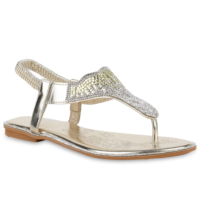 2427bbf07fb251 Stiefelparadies Damen Sandalen Zehentrenner mit Blockabsatz Flandell 39  EU