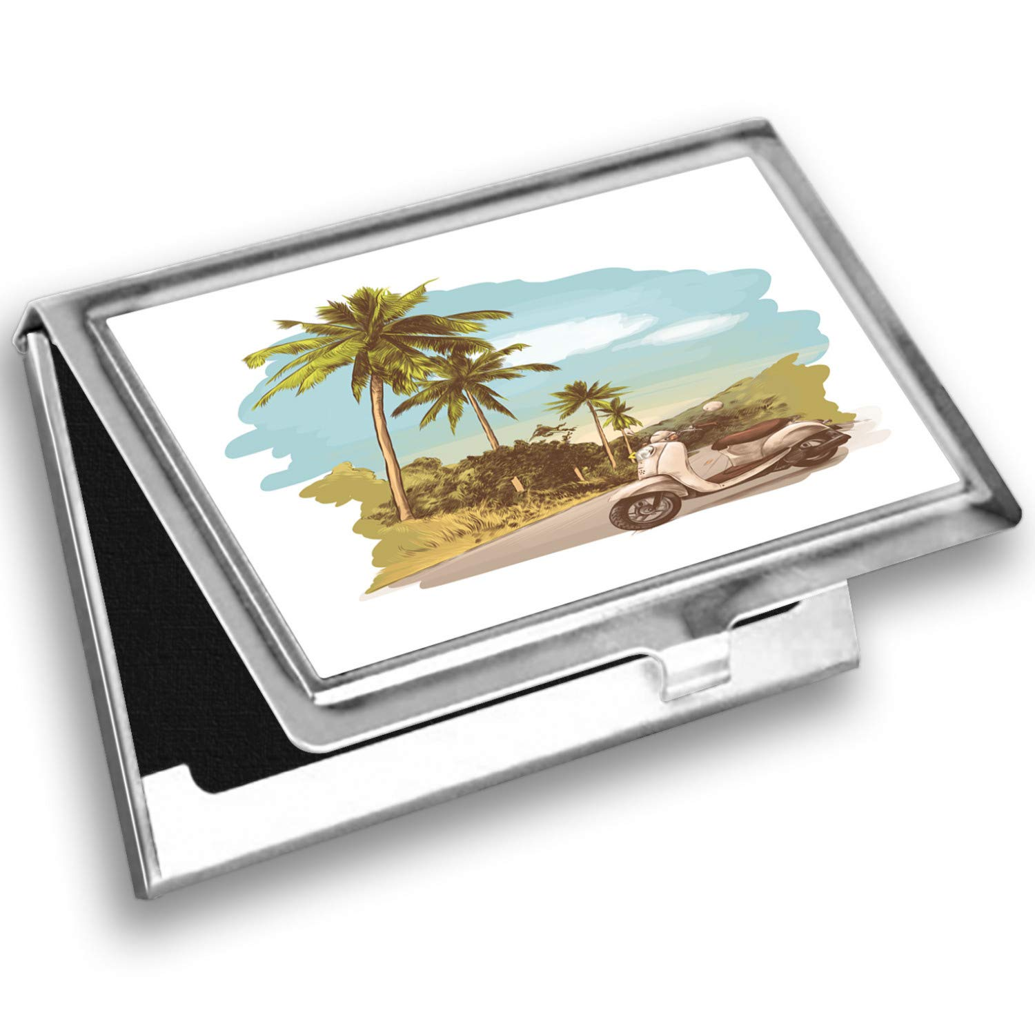 Ambesonne Retro Card Holder, Vintage Scooter in Jungle, Metal Card Wallet by Ambesonne