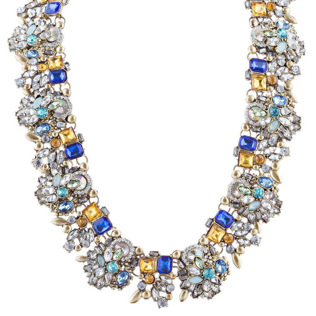 ACCESSORIESFOREVER Women Stunning Sparkle Crystal Rhinestone Fashion Statement Necklace N100 Blue