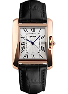 MaDong Womens Luxury Square Rose Gold Case Quartz Waterproof Leather Watch MDWH4