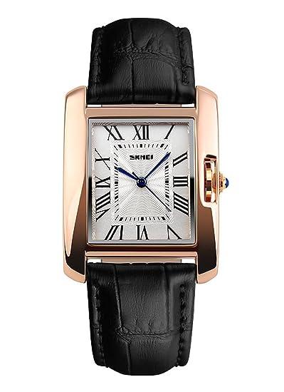NANHUA Las mujeres es negra de cuero genuino reloj de estilo informal de la muñeca 1085: Amazon.es: Relojes
