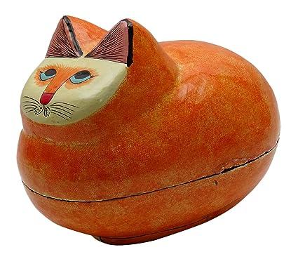 Papel del cartón piedra pintado a mano del gato de la baratija de la caja de