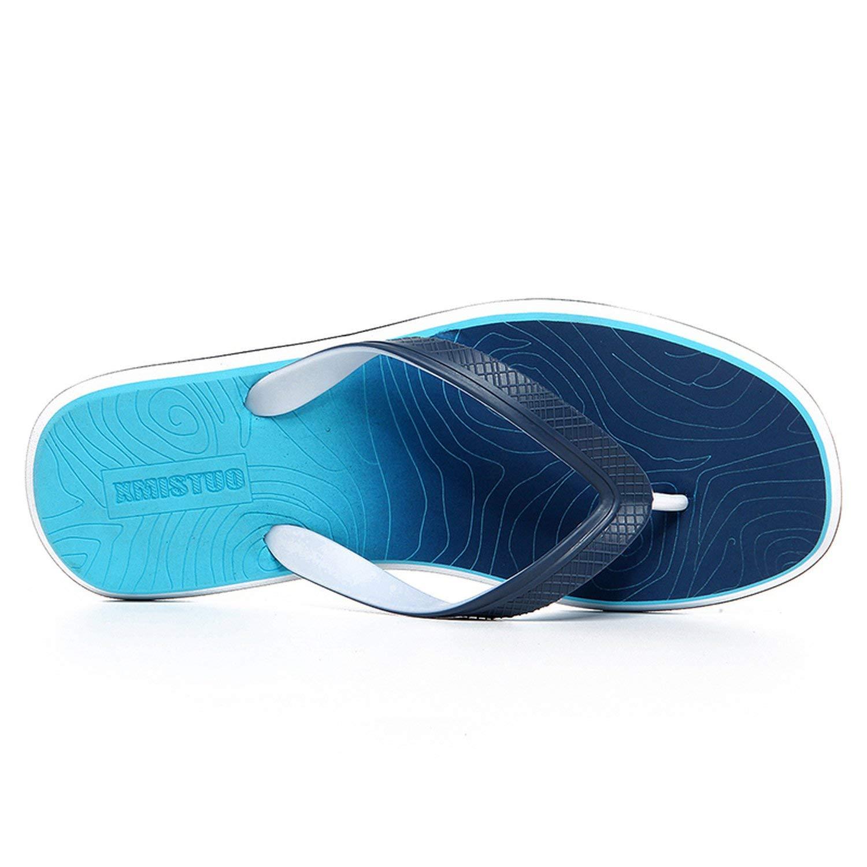 GoodGameWellPlay Slippers Men Outdoor Comfortable Beach Shoes Fashion Flip Flops Men Chanclas Hombre,Blue 7081,9.5