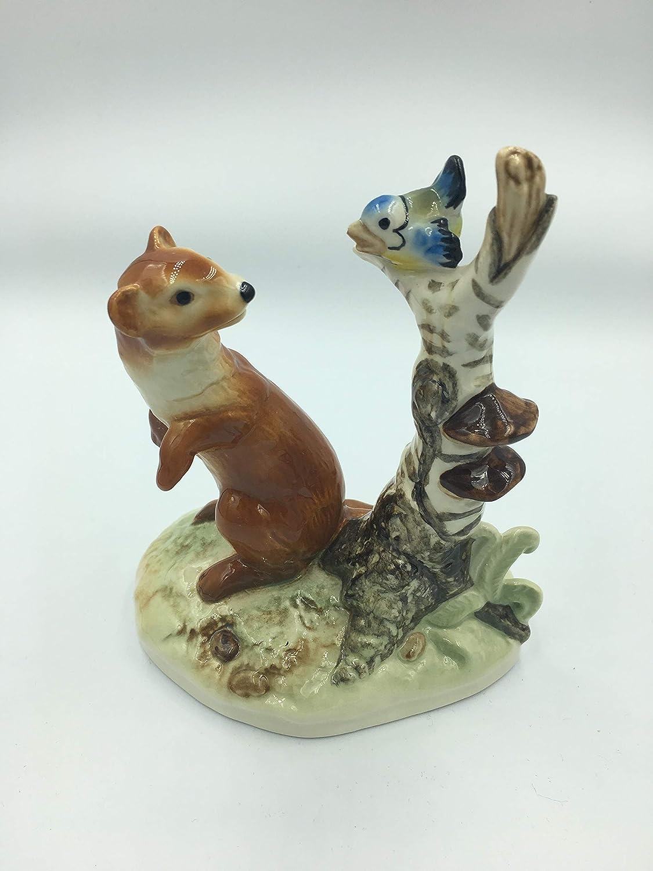 Goebel Hummel Weasel & Bird on Tree Trunk Figurine 35 600 W. Germany TMK 6 RARE