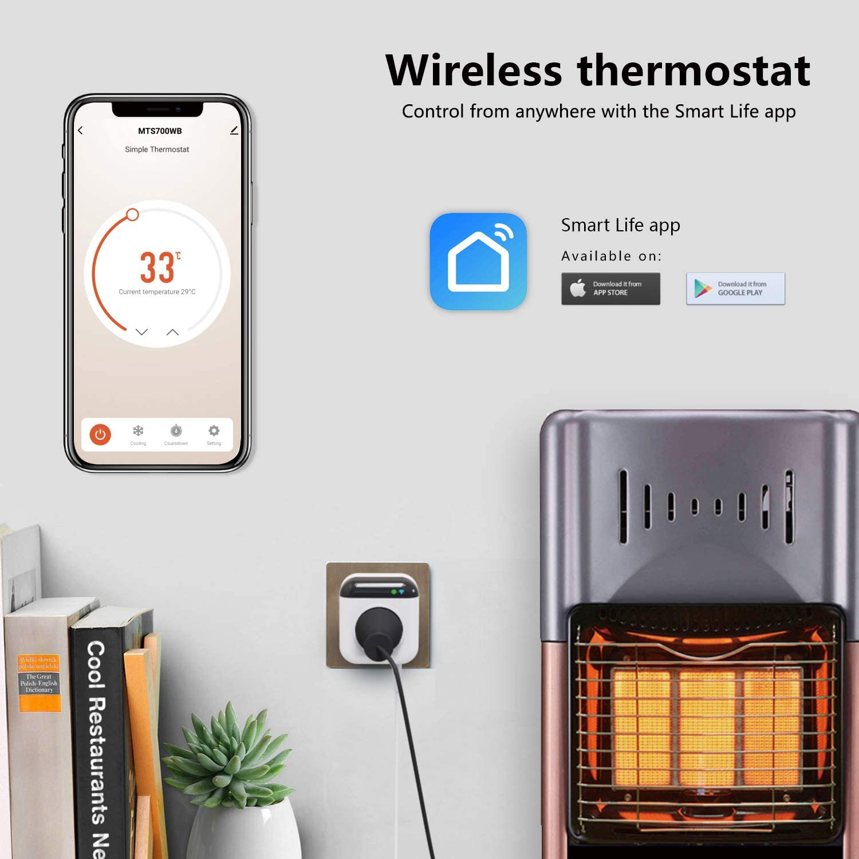 Kompatibel mit Alexa und Google Assistent 15Amp Digital WiFi Temperaturregler Steckdose 230V mit App NASHONE Programmierbarer Smart WLAN Thermostat Steckdose mit F/ühler