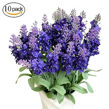 Bliss conyugal 10 pcs lavanda Jacinto Bluebells y plástico paño de seda flores artificiales para fiesta
