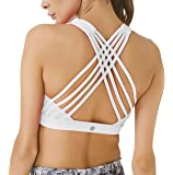 QUEENIEKE Women's Medium Support Strappy Back Energy Sport Bra Cotton Feel