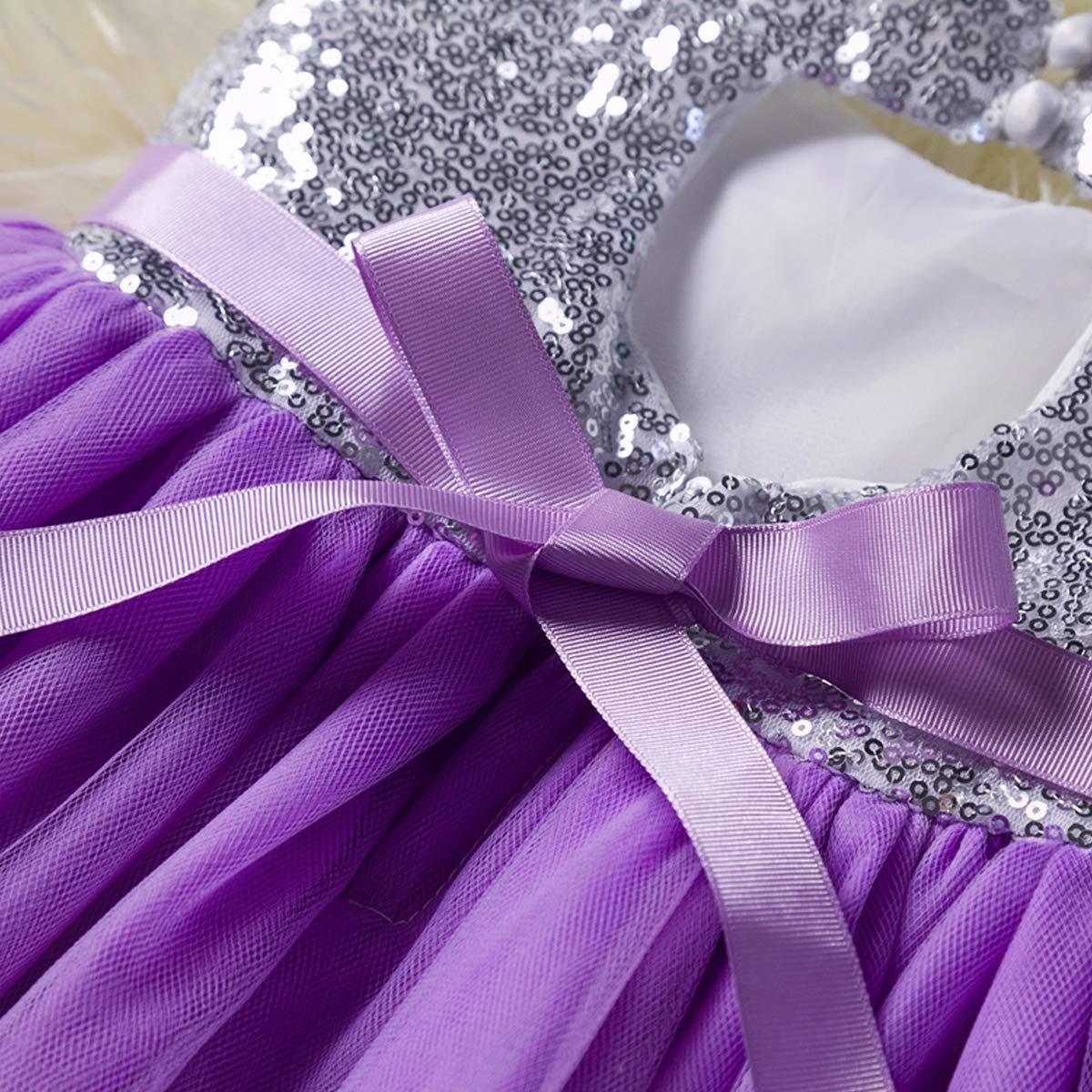 Toddler Kid Girls Dress|Sleeveless Floral Sequins Lace Tutu Dress for Party Wedding Princess