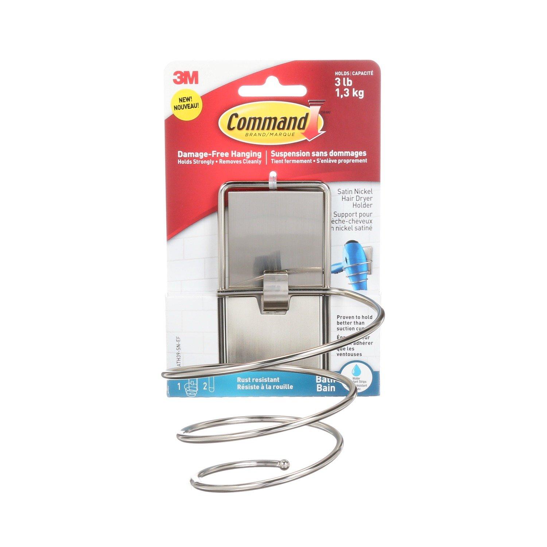 Command BATH41-SN-ES 076308731892 Damage-Free Hand Towel Bar, 1, Satin Nickel