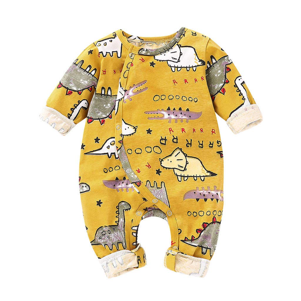NUWFOR Newborn Infant Toddler Baby Boys Girls Cartoon Animal Romper Jumpsuit Outfits(Yellow,12-18 Months)