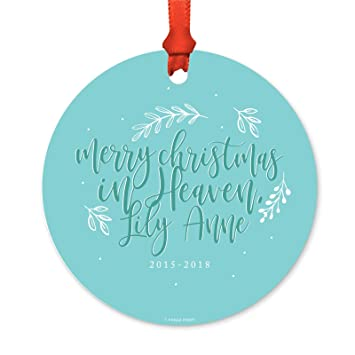 Merry Christmas In Heaven.Andaz Press Personalized Infant Memorial Round Metal Christmas Ornament Merry Christmas In