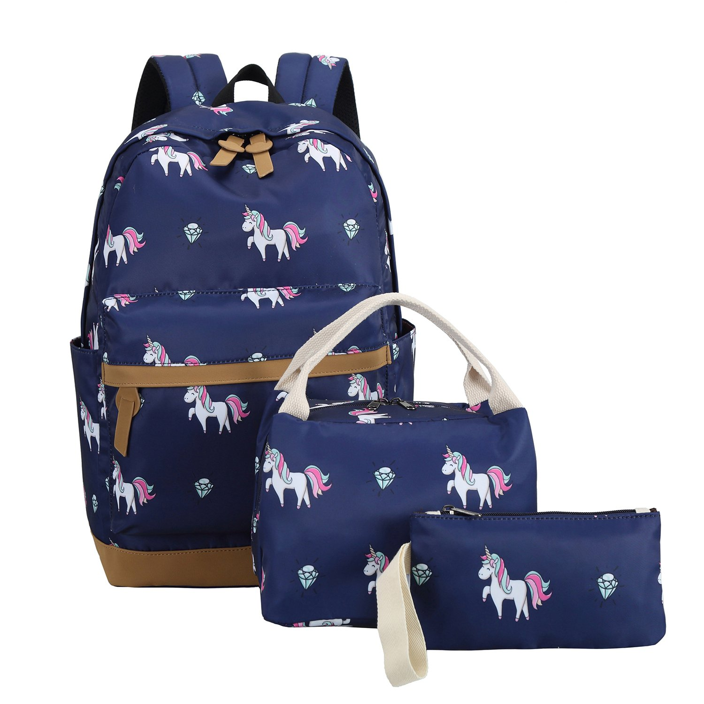 School Backpacks for Teen Girls Lightweight Canvas Backpack Bookbags Set (Dark Blue) by CAMTOP