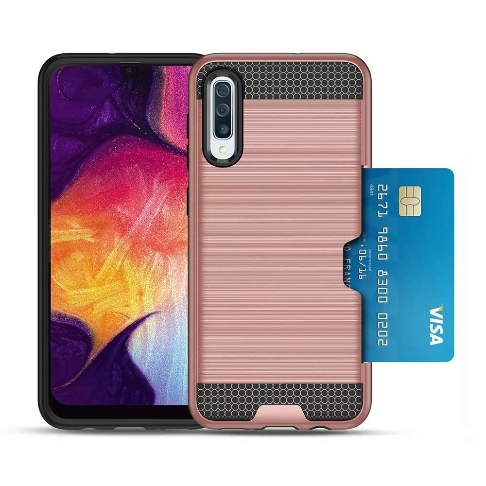 Galaxy A50 Case with HD Screen Protector,Galaxy A50 Credit Card Holder Dual Layer Silicone Rubber Hybrid Defender Armor Slim Fit Protective Case for Samsung Galaxy A50 Gold