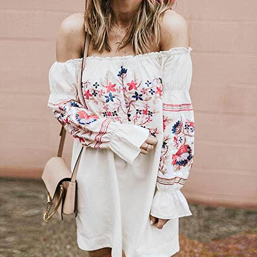 ea63df7e6809 Image Unavailable. Image not available for. Color: Women Floral Dress,  LuluZanm Fashion Ladies Summer Beach Printed Party Off Shoulder Mini Dress  White