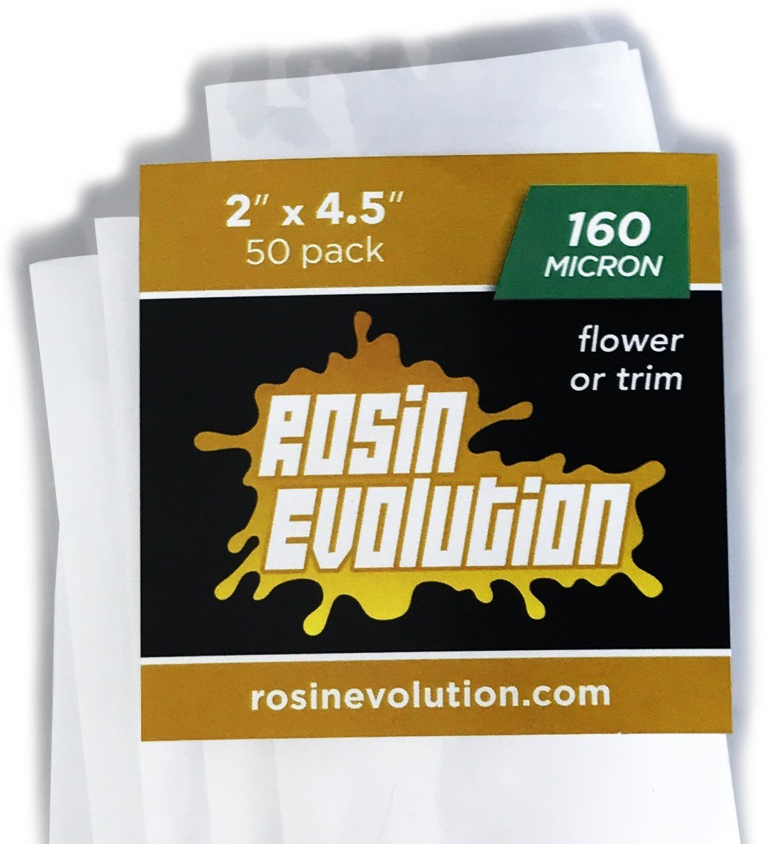 Rosin Evolution Press Bags - 160 Micron Screens (2'' x 4.5'') - 50 Pack by Rosin Evolution