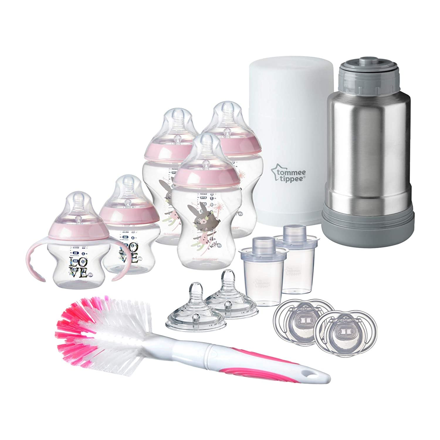 Tommee Tippee Closer to Nature Newborn Baby Feeding Starter Set - Pink, Girl (Design May Vary)