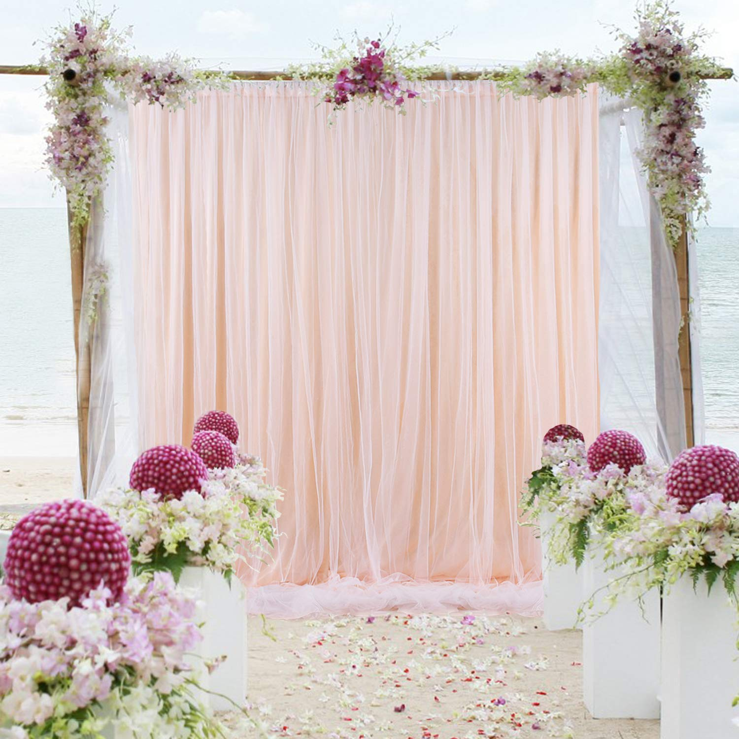 Tulle-Backdrop-Curtains-Peach Chiffon Background for Wedding Reception Parties Baby Shower Photographer Picture Christmas Decoration 5 ft X 7 ft