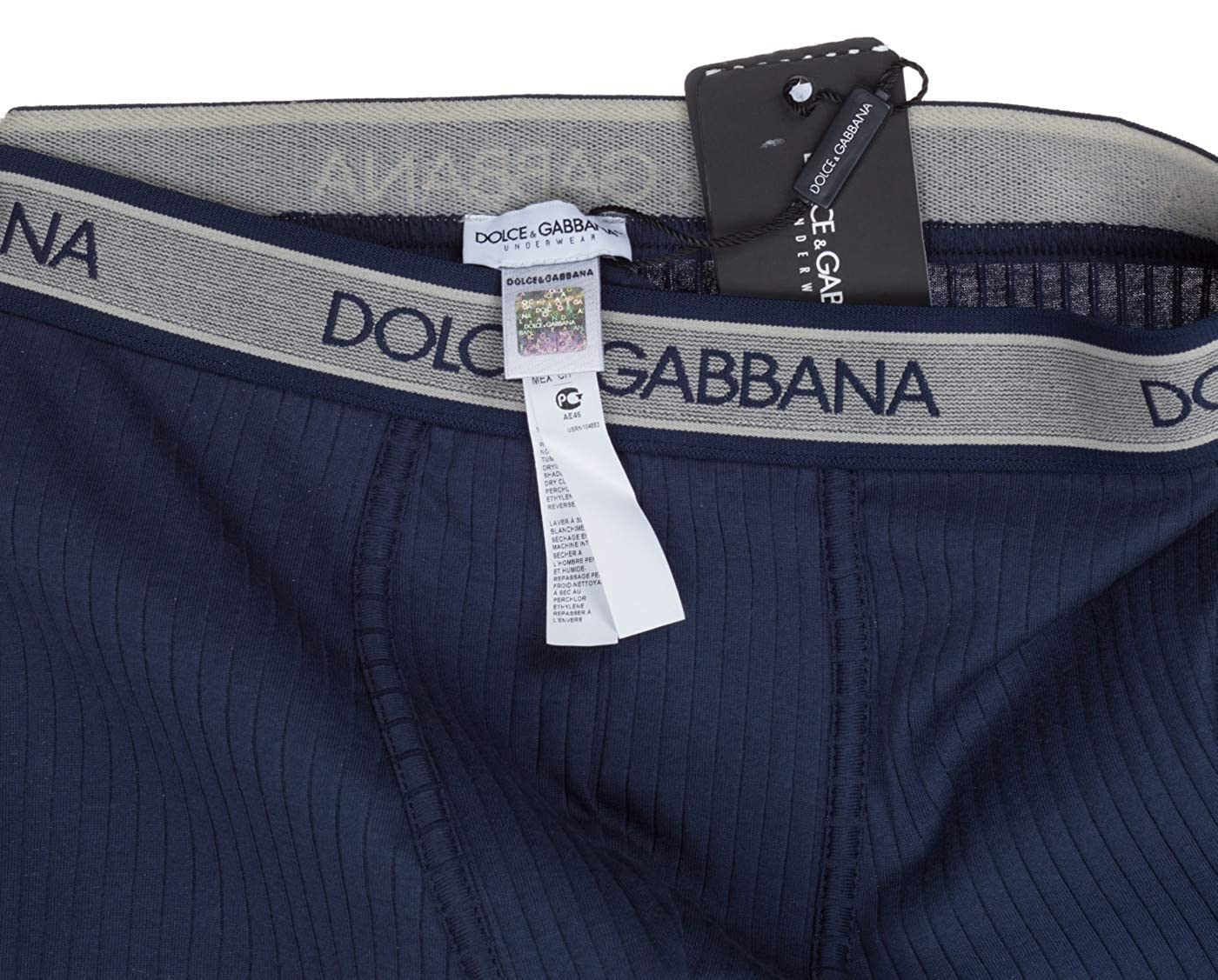 Dolce /& Gabbana Mens Navy Blue Cotton Ribbed Boxers Underwear