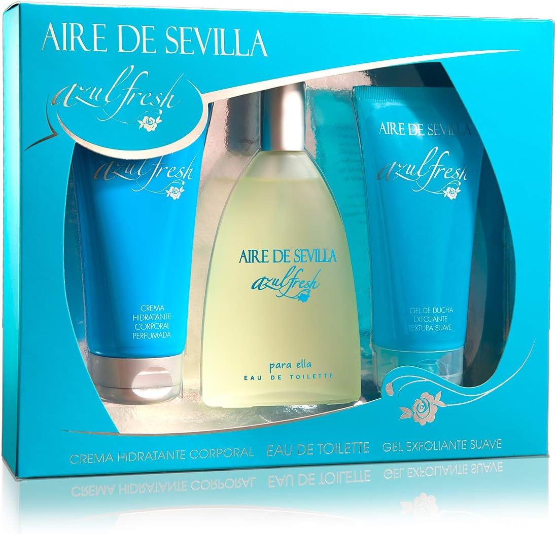 Aire de Sevilla Set de Belleza Edición Azul Fresh - Crema Hidratante Corporal, Eau de Toilette, Gel Exfoliante