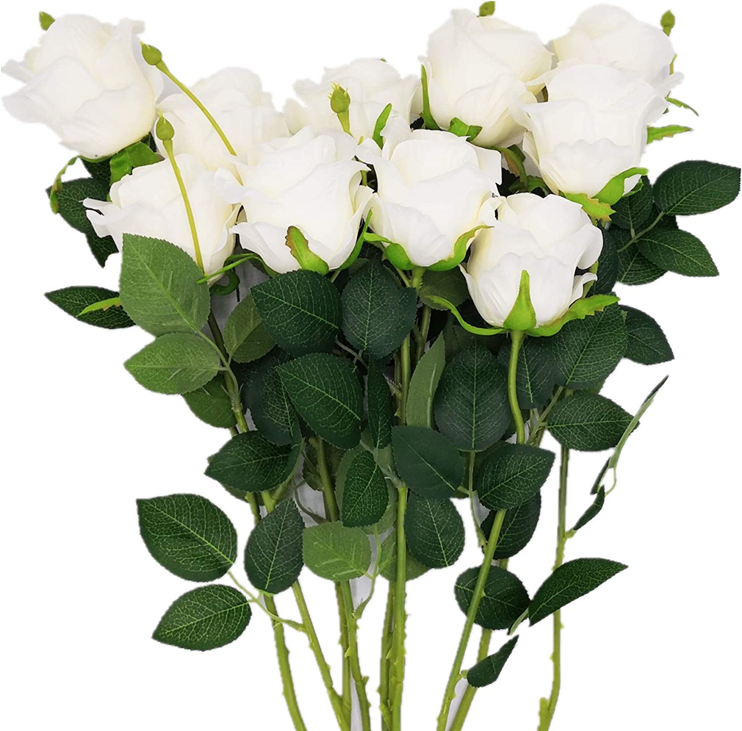 Another Gifts Artificial Silk Rose Flower Bouquet Home Decor Wedding Party, Pack of 10 (Off White)