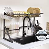 KORVOS Over Sink Dish Drying Rack with Stainless Steel for Kitchen Supplies Storage, Length Adjustable (26''-36.2…