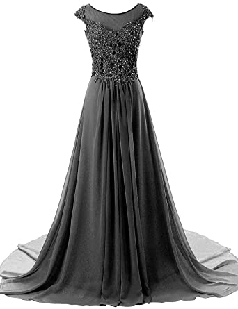 ASBridal Evening Dresses Long Lace Prom Dress Chiffon Formal Party Gowns Cap Sleeve Black US2