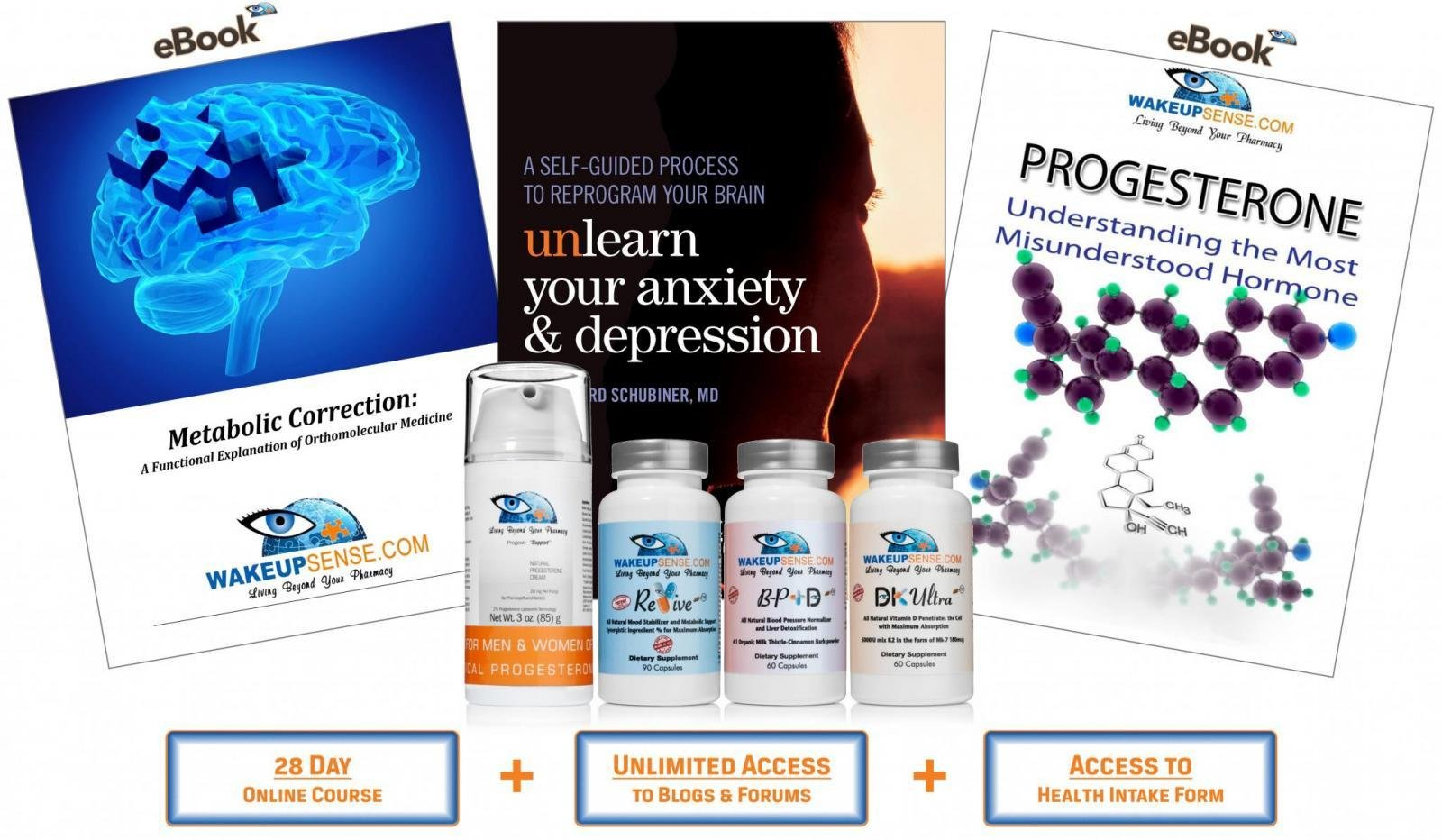 Wake Up Sense LLC Holistic Health Pack: Revive (Anxiety Relief/Metabolic Support), Progest (Progesterone Cream), DK Ultra (Vitamin D/K), BP+D (Liver Detox/Blood Pressure Support), books, online course