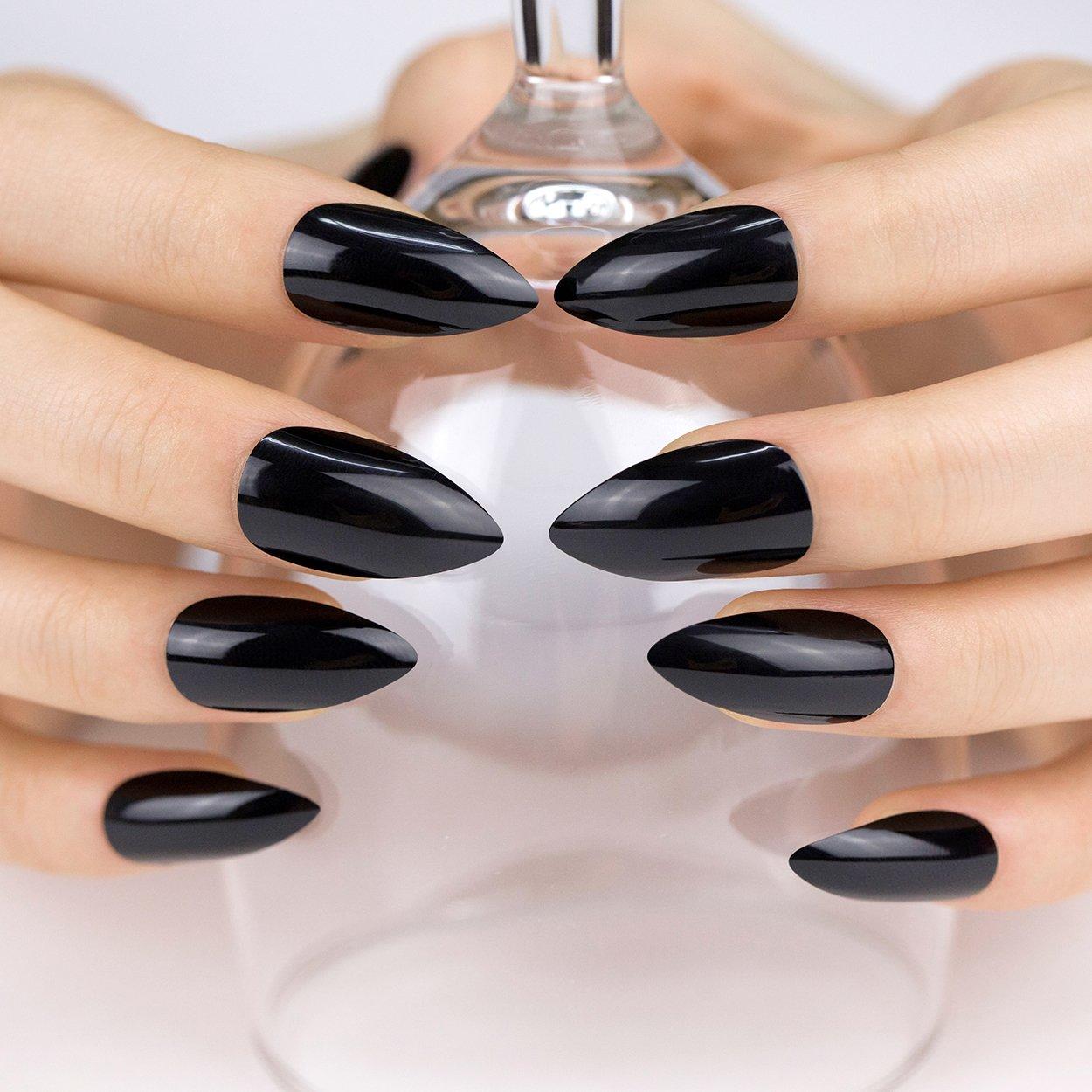 ArtPlus Black Gel Fake Nails Kit Stiletto Full Cover with Glue 24pcs False Nails