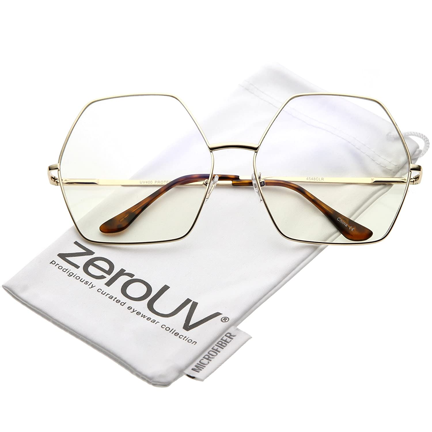 67c6e661d5 Amazon.com  zeroUV - Oversize Hexagonal Clear Lens Eye Glasses 67mm  (Gold Clear)  Clothing