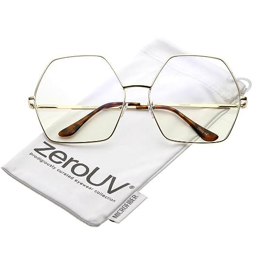 68352c8703 Amazon.com  zeroUV - Oversize Hexagonal Clear Lens Eye Glasses 67mm ...